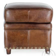 vintage brown leather footstool middletown