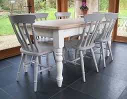 farmhouse table and chairs hand painted by rectory blue