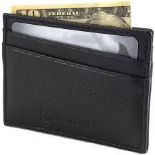 alpine swiss minimalist leather front pocket wallet 5 card slots slim thin case 0