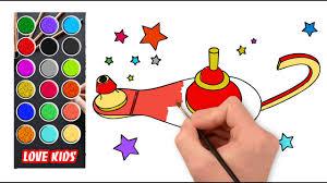 How To Draw Aladdins Lamp Love Kids Youtube