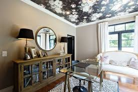 Wallpapered office home design Masculine Home Office Black Floral Wallpaper Ceiling Steele Street Studios The Spruce 29 Ceiling Wallpaper Ideas