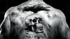 неудержимые фильм ворон череп спина тату черно белая Hd обои для