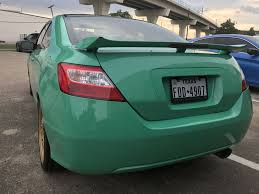 Honda Civic Light Green Honda Civic Si Wrapped In Avery Sw900 Gloss Emerald Green By