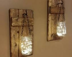 Rustic Decor, candle holders,hanging Mason jars With Lights, sconces, Mason  Jar