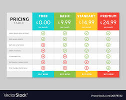 Web Design Package Pricing Pricing Table Design For Business Price Plan Web