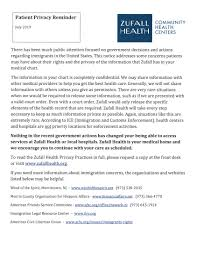 Important Information Regarding Patient Privacy At Zufall Health