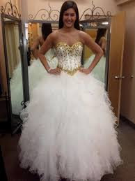 white and gold wedding dress ball gown naf dresses