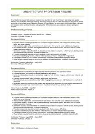 Sample Professor Resume Sample Architecture Professor Resume
