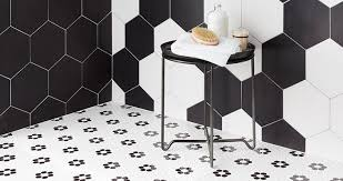 black and white mosaic shower floor