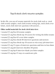 Top 8 stock clerk resume samples In this file, you can ref resume materials  for ...