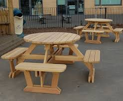 round wooden 8 seater picnic tables and benches