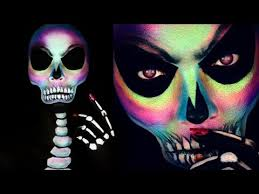 holographic skull makeup tutorial colorful skull makeup lets learn makeup