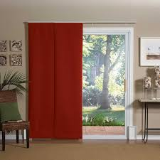 image of window treatment ideas for sliding glass doors red curtain