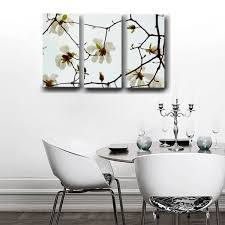 three panel gallery wrapped canvas white magnolia wall art decor for inspirations 13 on white magnolia wall art with three panel gallery wrapped canvas white magnolia wall art decor for