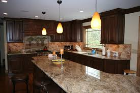 U Shaped Dark Mahogany Wood Kitchen Cabinets For White Granite
