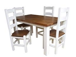 Sawnbeam 5 X 3 Off White Painted Dining Table With 4 Matching