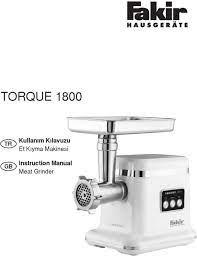 TORQUE Kullanım Kılavuzu Et Kıyma Makinesi. Instruction Manual Meat Grinder  - PDF Ücretsiz indirin