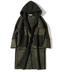 zxfhzs mens long suede overcoat on up trench coat army green