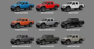 2020 Jeep Colors Chart 2020 Gladiator Colors Availability Dates Start Of