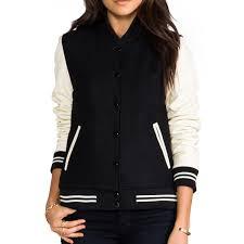 women s black and cream varsity jacket