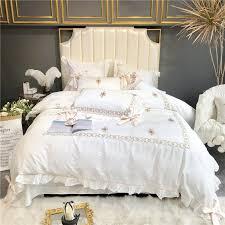 luxury egypt cotton pure princess bedding set bowknot ruffles duvet cover sets bed sheet pillowcases queen king size 4 6 cotton duvet purple duvet covers