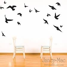 ... Flying Birds Wall Art Decor Simple Decorating Room Somfortable Wooden  Chairs Black Colour Stickers White Brown ...
