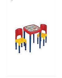 baby table 2 chairs plastic set with multicolor