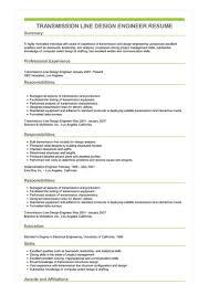 Sample Transmission Line Design Engineer Resume