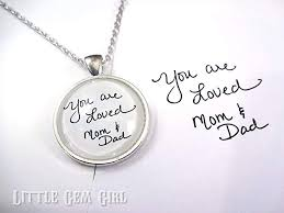 handwriting jewelry necklace made using your own handwriting or signature from loved one 5 colors available also available as key chain single or
