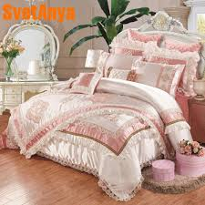 luxury european style 11pcs bedding bedspread linens high end embroidered silk cotton fabric king size duvet cover set bed flag malaysia