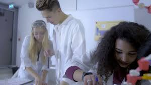 students of elementary school in chemistry class doing chemistry  college students making chemistry experiments in science class smart young people wearing white coats using