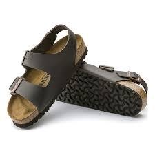 image of birkenstock milano smooth leather sandals men s dark brown