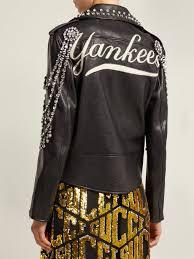 gucci yankees crystal embellished leather biker jacket