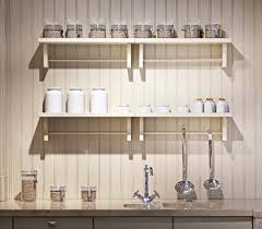 Decorating Kitchen Shelves Kitchen Shelves Ideas Long White Counter With Pink Led And