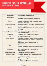Infographic English Words Related To Employment Jobs