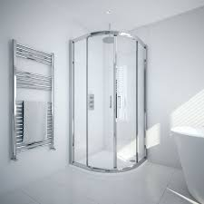 again these fit neatly into the corner and feature sliding doors to save space there s a range of sizes available and each one features a chrome frame