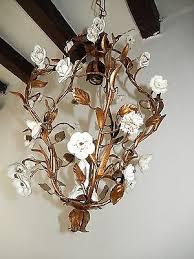 c 1920 french tole porcelain roses cherub lyre chandelier vintage original