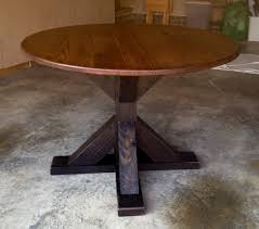 custom made reclaimed round red oak trestle table