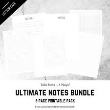Ultimate Notes Bundle Printable Notes Set Dot Grid Bullet Journal Graph Paper Ruled Notes Cornell Notes Journal