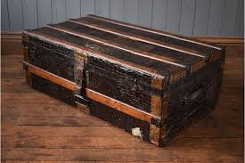 vintage travel trunk coffee table black faux alligator skin photo
