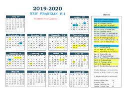 2019 2020 School Calendar New Franklin R 1 Schools