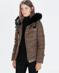 Leather Detail Quilted Jacket | Burberry Small | Steel Blue ... & QUILTED ANORAK WITH FUR HOOD-Quilted coat-Outerwear-WOMAN-SALE | ZARA Adamdwight.com