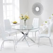 modern round glass dining table and 4 chairs daytona 110cm chrome and
