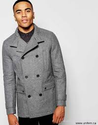 men s new look wool peacoat in grey with military detail on district baguq fashion holiday hilmuvy069