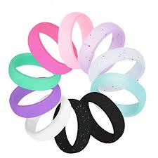 Cooloo 10 Pack Silicone Wedding Ring For Women Premium Medical Grade Wedding Bands Thin And Stackable Durable Comfortable Antibacterial Rubber Rings