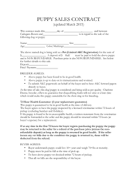 Puppy Sales Contract Sample In Word And Pdf Formats