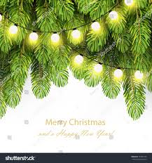 Holiday Branches With Lights Hristmas Lights On Pine Branches Garland Holidays Stock Image