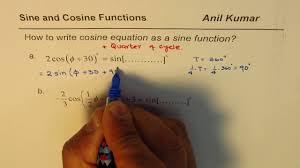 write cosine transformed equation as sine function