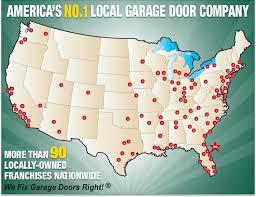 precision garage door coverage map