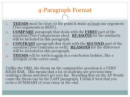 acceptable thesis that addresses comparison contrast point  2 4 paragraph